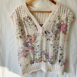 Guess Floral Crochet Tassel Cap Sleeve Blouse